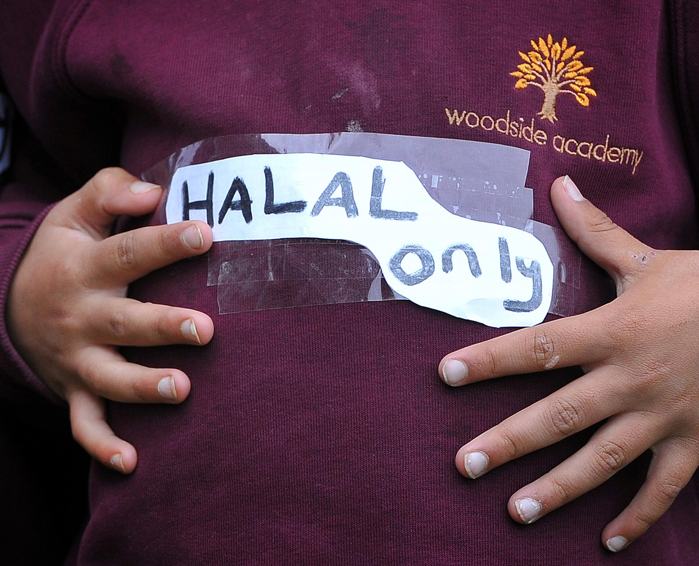 PROTEST: The 'Halal only' stickers